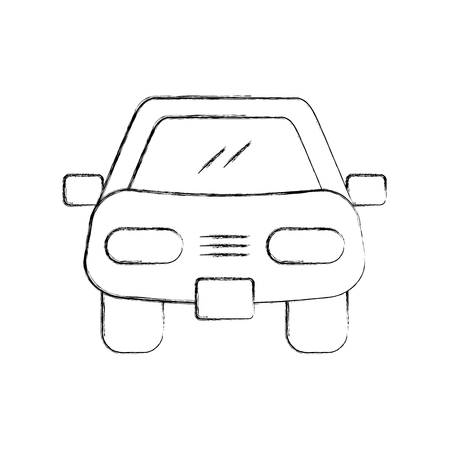 cartoon car vehicle transport front view icon vector illustration Illusztráció