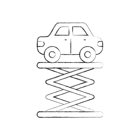 cartoon car over self propelled lift service maintenance vector illustration