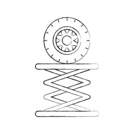Reifen-Auto in der hydraulischen Plattform mechanische Motor Vektor-Illustration Standard-Bild - 85132214