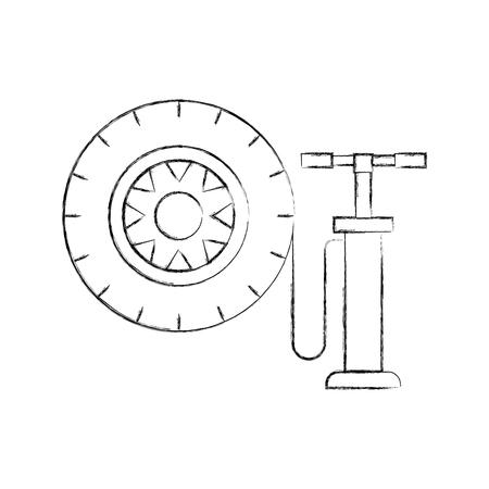 handpomp met auto wiel druk lucht instrument vectorillustratie