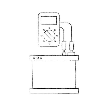 auto radiator met tester mechanisch elektrisch apparaat vectorillustratie