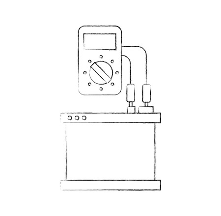 car radiator with tester mechanic electrical device vector illustration 版權商用圖片 - 85132228