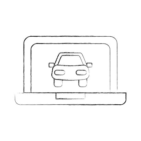 car in display laptop icon service diagnostic vector illustration