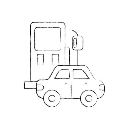 白い背景のデザインベクトルイラストの上にガソリンスタンドと車のアイコン