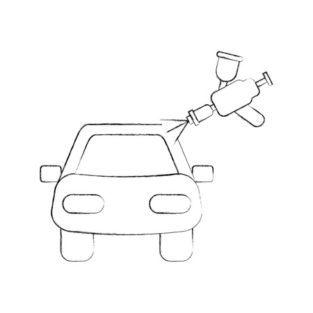 car body painting service with spray gun vector illustration Ilustracja