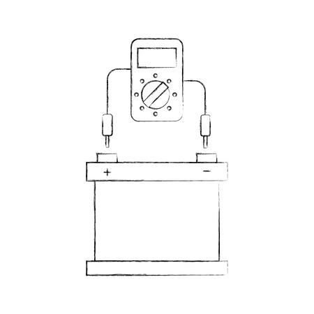 auto batterij met tester apparaat elektrische apparatuur vector illustratie Stock Illustratie