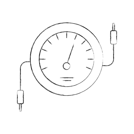 speedometer icon counter electric cable test vector illustration Stok Fotoğraf - 85132147