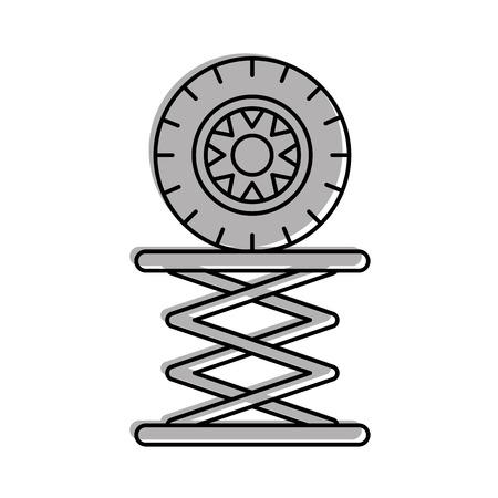Reifen-Auto in der hydraulischen Plattform mechanische Motor Vektor-Illustration Standard-Bild - 85132186