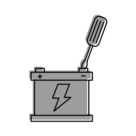 battery car with screwdriver repair support tool vector illustration