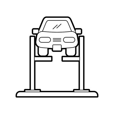 ホイール整列サービスステーションベクトルイラストで位置合わせ装置付き漫画の車  イラスト・ベクター素材