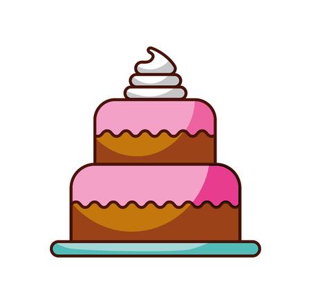 甘い焼きケーキ誕生日クリームおいしいベクトル図  イラスト・ベクター素材