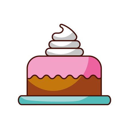 sweet baked cake birthday cream delicious vector illustration Ilustração