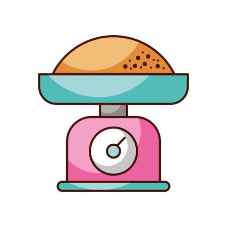 小麦粉メジャー ベクトル イラスト キッチン体重計