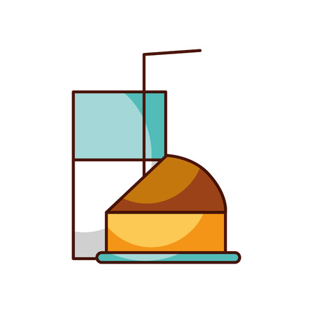 half cake and glass milk straw breakfast vector illustration Illustration