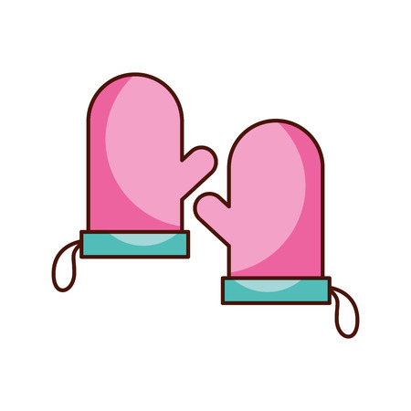 two pink glove holderpot kitchen icon vector illustration Illustration
