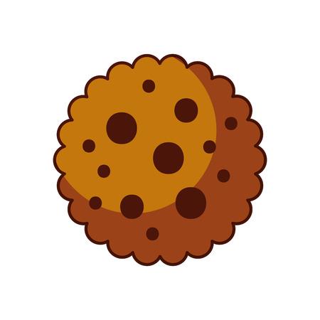Chocolade Chip Cookie Dessert Eten Pictogram Vectorillustratie