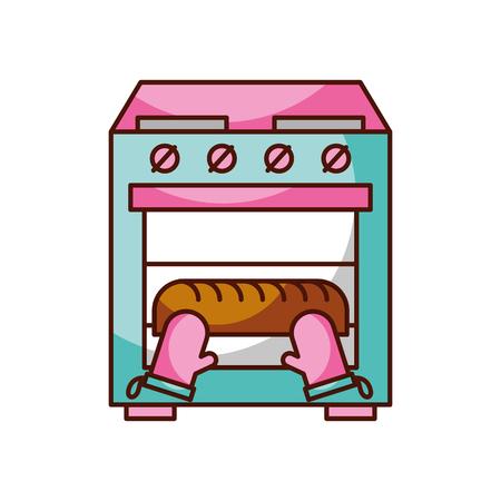 오븐 부엌 숙제 벡터 일러스트 레이션에서 빵을 굽기