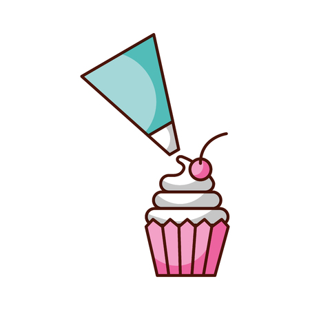 piping bag frosting a cupcake pastry isolated on a white background vector illustration