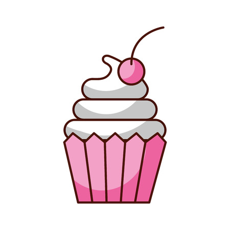 cupcake cherry and icing bakery pastry food fresh vector illustration 向量圖像