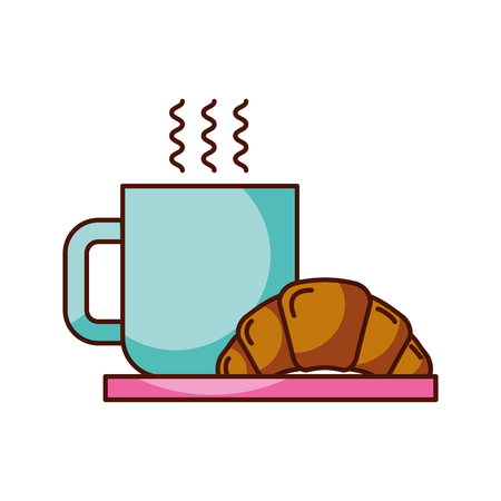 coffee cup croissant dish breakfast food fresh hot vector illustration