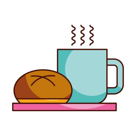 컵 뜨거운 빵 벡터 아침 식사 음식 음식 일러스트 레이션 일러스트