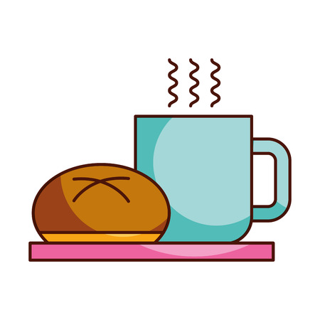 coffee cup bun bread dish breakfast food fresh hot vector illustration Illustration