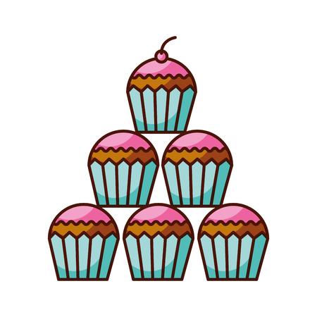 birthday cupcakes dessert celebration decorative vector illustration Çizim