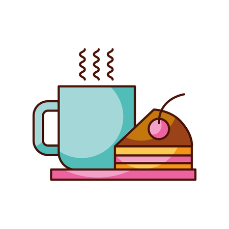 Frische heiße Vektorillustration der Kaffeetassekuchenbeerensahneteller-Imbiss Standard-Bild - 85136564