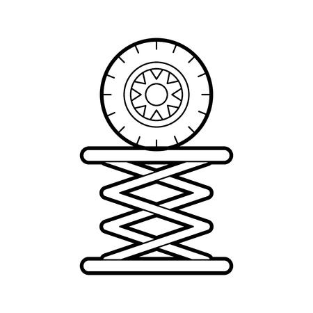 Reifen-Auto in der hydraulischen Plattform mechanische Motor Vektor-Illustration Standard-Bild - 85136637