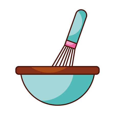 クッキングベクトルイラストを調理するためのハンドミキサー道具器具付きキッチンボウル