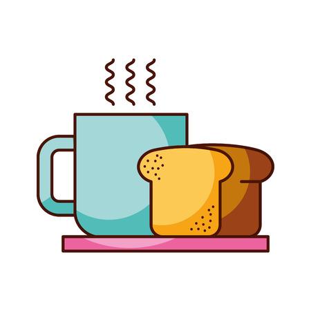 Kaffeetasse Brot Gericht Frühstück Essen frisch heiß Vektor-Illustration Standard-Bild - 85136659
