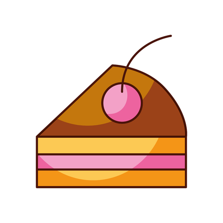 cake piece cherry bakery pastry product food fresh vector illustration