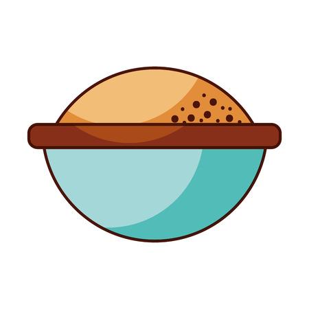 cartoon bowl with flour ingredient bakery and dessert vector illustration Reklamní fotografie - 85133750