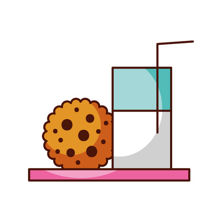 glass milk and cookie snack food image vector illustration