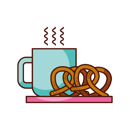 breakfast coffee and pretzel hot fresh food vector illustration