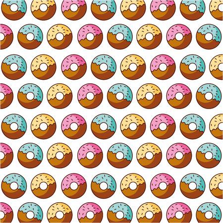 donut bakery kitchen seamless pattern vector illustration Illustration