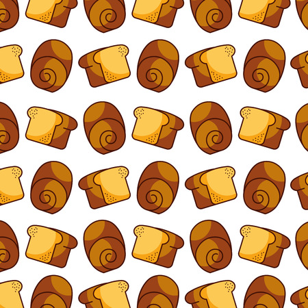 スライス パン パン ベーカリー キッチンのシームレスなパターン ベクトル図