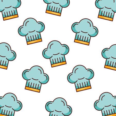 blue chef hat bakery kitchen seamless pattern vector illustration