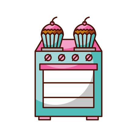 부엌 컵 케 잌은 이상한 요리 개념 벡터 일러스트 레이션 일러스트