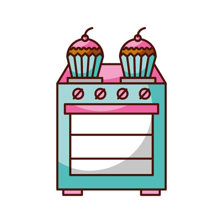 kitchen cupcake over stoven cooking concept vector illustration
