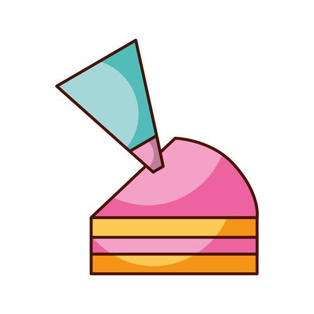 halve stuk cake met slagroom ijs decoratie vectorillustratie