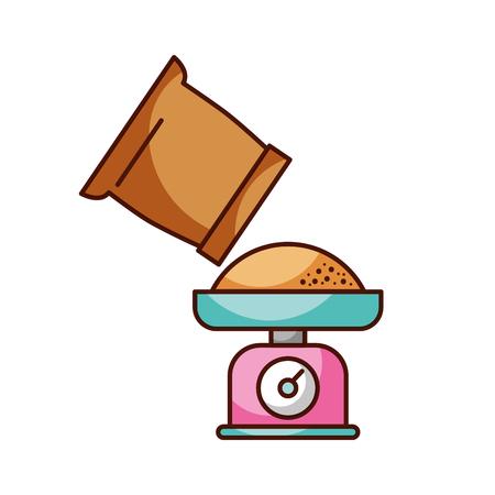 体重計と小麦粉袋調理食品ベーカリー ベクトル図 写真素材 - 85137744