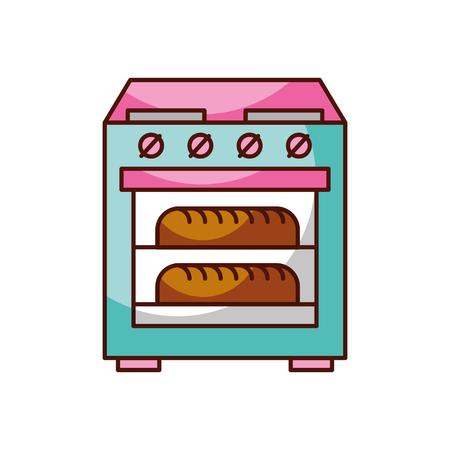 Estufa horno con dos hot bread icono ilustración vectorial Foto de archivo - 85137746