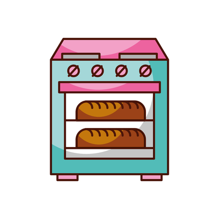 stove oven with two hot bread icon vector illustration