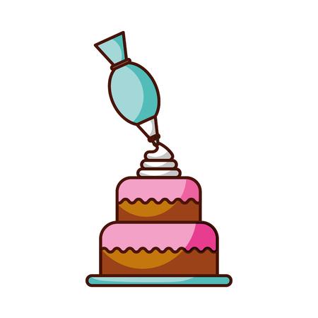 dessert cake and icing bag cream decoration vector illustration Vettoriali
