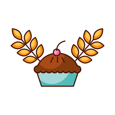 deliciuos cake and wheat grain berry bakery food vector illustration