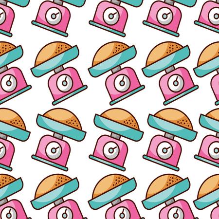 무게 규모 밀가루 빵집 부엌 원활한 패턴 벡터 일러스트 레이션 일러스트