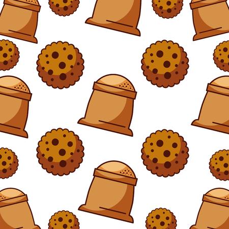 쿠키와 자루 밀가루 빵집 부엌 원활한 패턴 벡터 일러스트 레이션