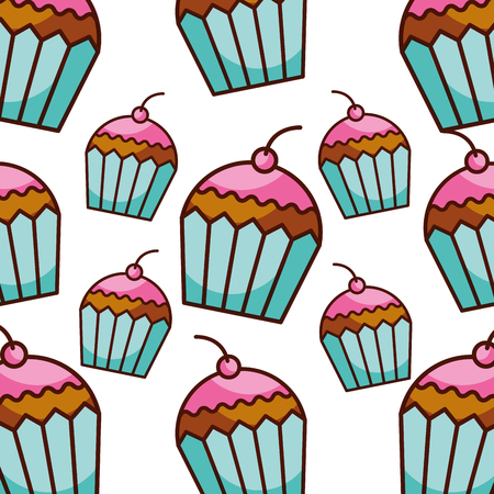 cupcake berry bakery kitchen seamless pattern vector illustration
