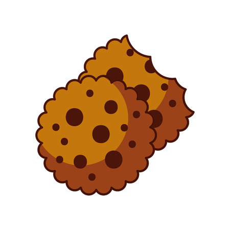 chocolate chip cookie dessert eating icon vector illustration